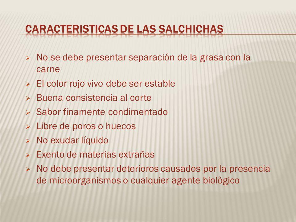 CARACTERISTICAS DE LAS SALCHICHAS