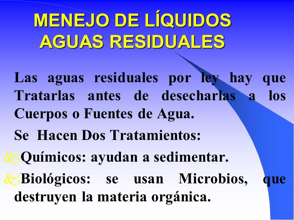 MENEJO DE LÍQUIDOS AGUAS RESIDUALES