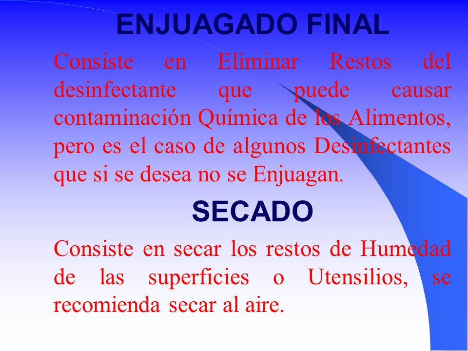 ENJUAGADO FINAL SECADO