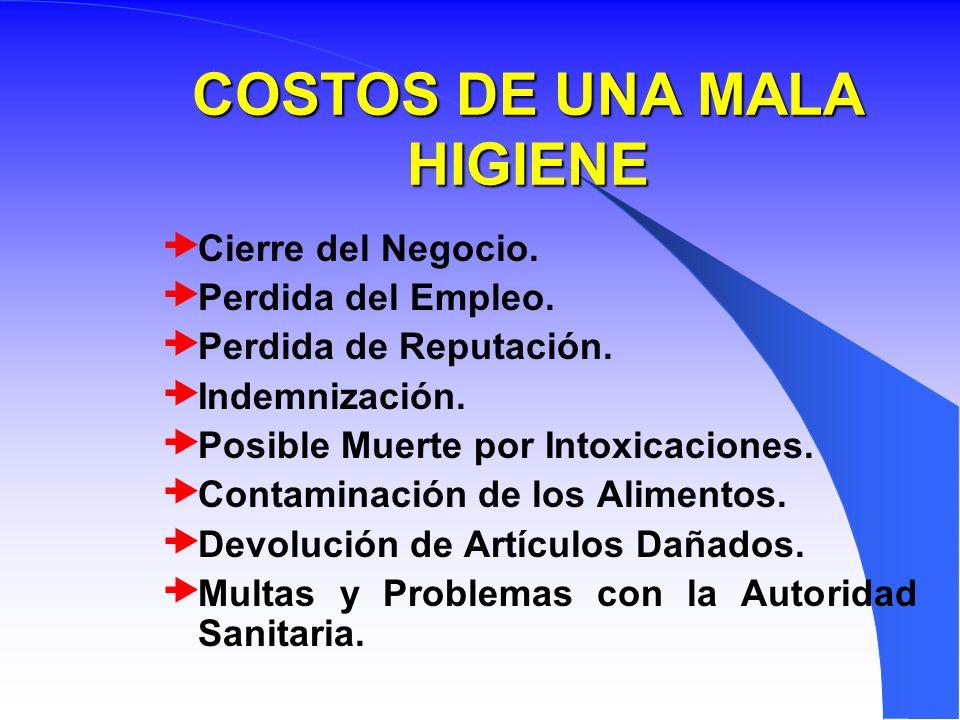 COSTOS DE UNA MALA HIGIENE