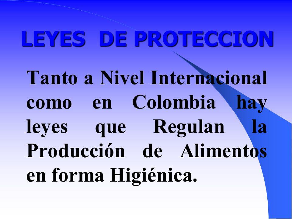 LEYES DE PROTECCION Tanto a Nivel Internacional como en Colombia hay leyes que Regulan la Producción de Alimentos en forma Higiénica.