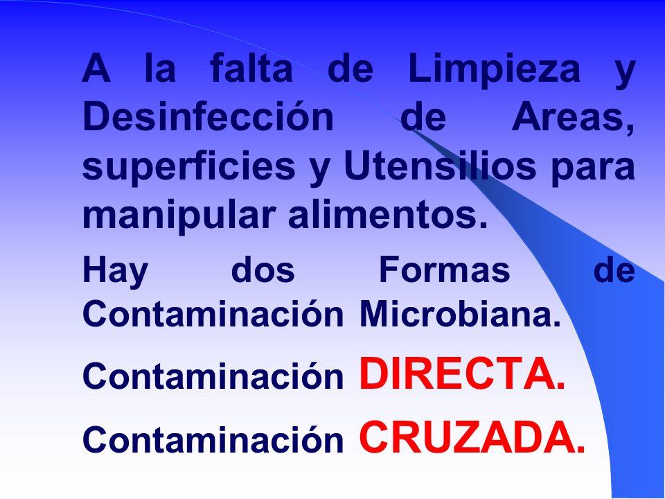 A la falta de Limpieza y Desinfección de Areas, superficies y Utensilios para manipular alimentos.