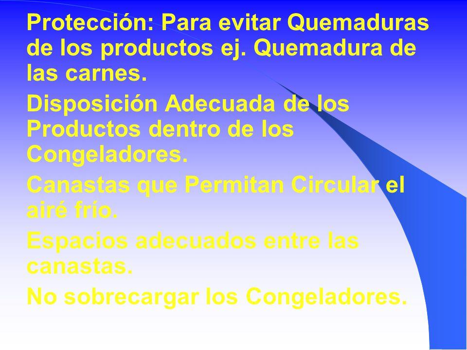 Protección: Para evitar Quemaduras de los productos ej