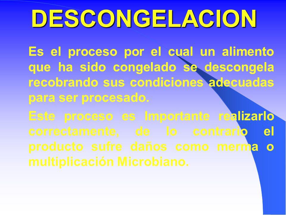 DESCONGELACION Es el proceso por el cual un alimento que ha sido congelado se descongela recobrando sus condiciones adecuadas para ser procesado.