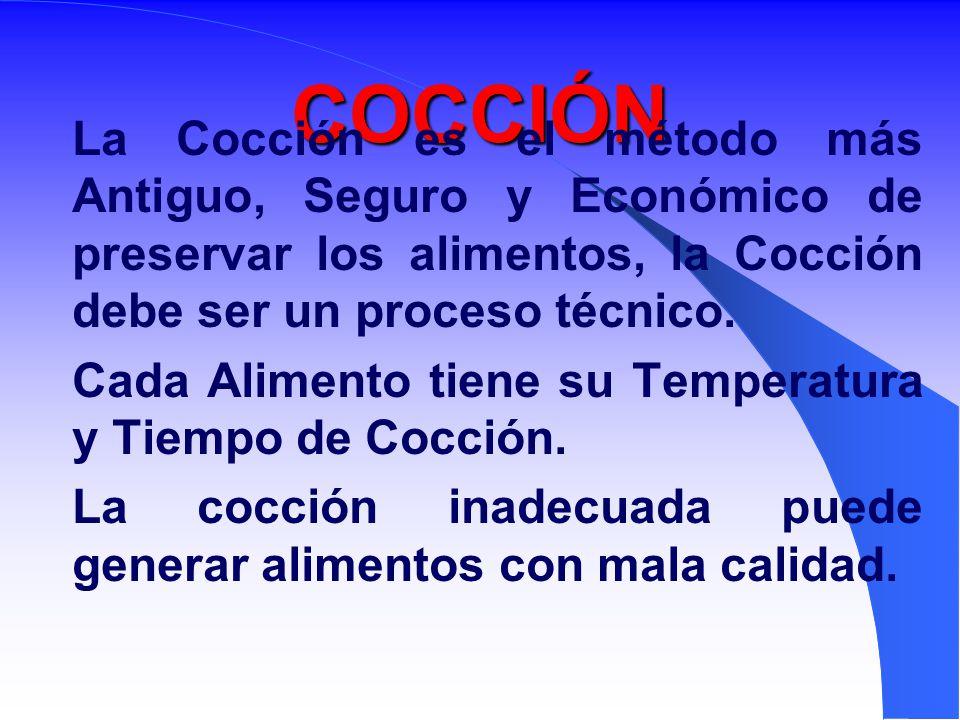 COCCIÓN La Cocción es el método más Antiguo, Seguro y Económico de preservar los alimentos, la Cocción debe ser un proceso técnico.
