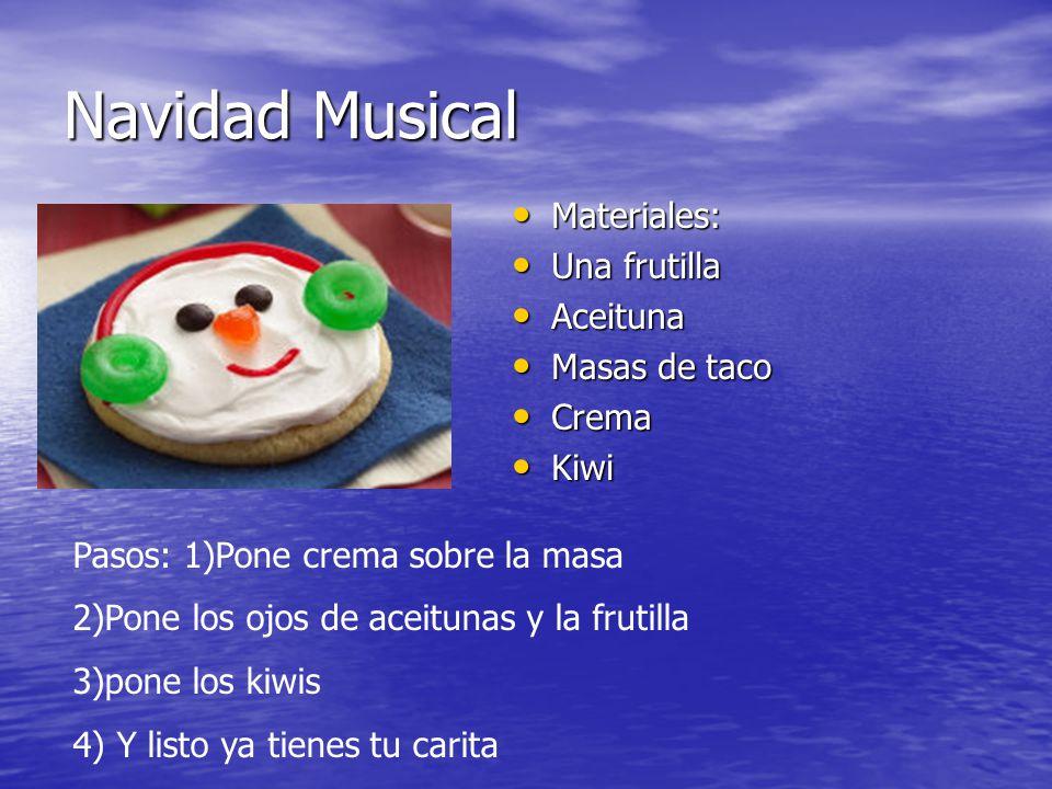 Navidad Musical Materiales: Una frutilla Aceituna Masas de taco Crema