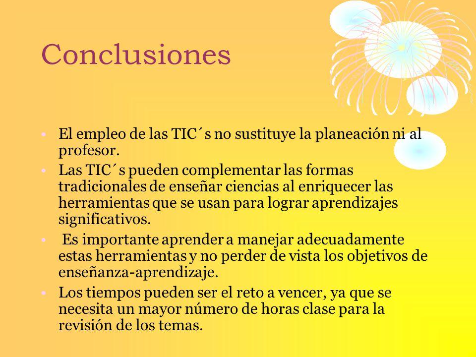 Conclusiones El empleo de las TIC´s no sustituye la planeación ni al profesor.