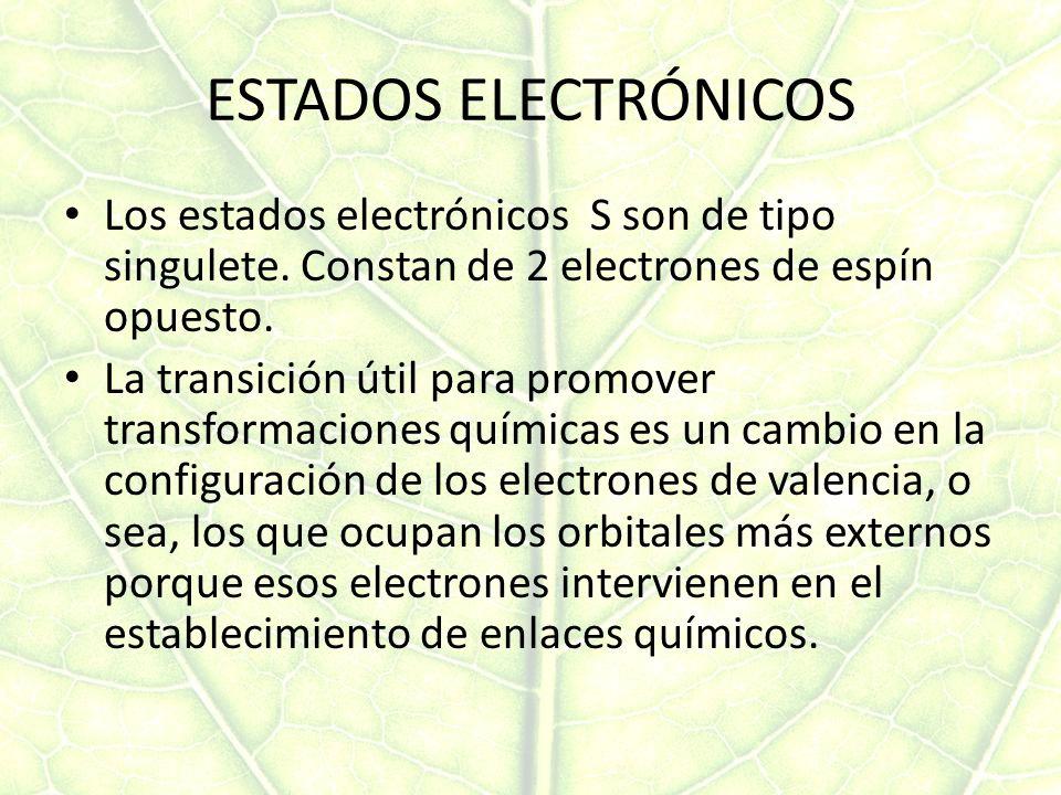 ESTADOS ELECTRÓNICOS Los estados electrónicos S son de tipo singulete. Constan de 2 electrones de espín opuesto.