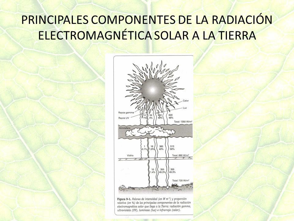 PRINCIPALES COMPONENTES DE LA RADIACIÓN ELECTROMAGNÉTICA SOLAR A LA TIERRA