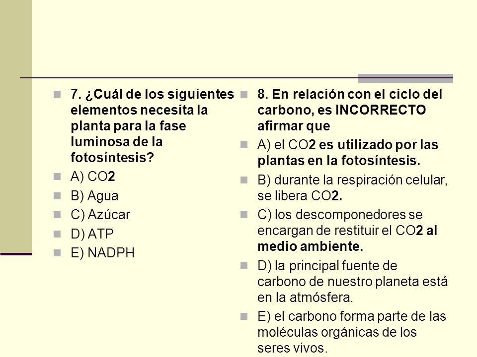 7. ¿Cuál de los siguientes elementos necesita la planta para la fase luminosa de la fotosíntesis