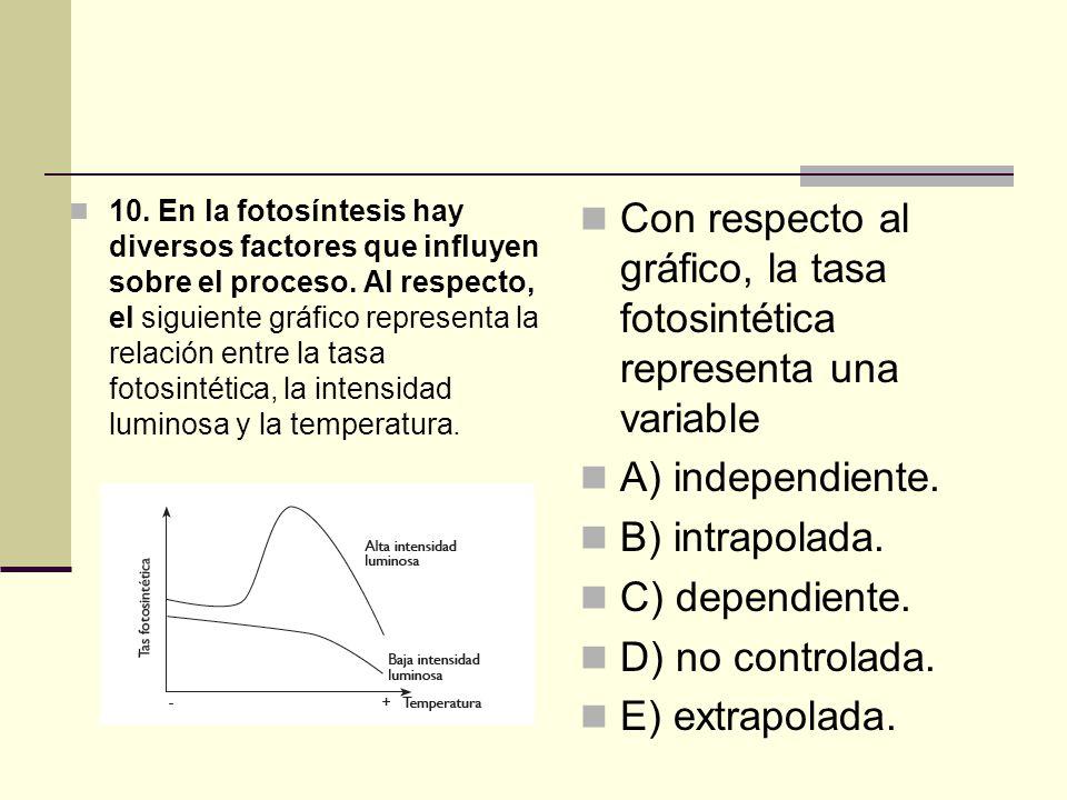 Con respecto al gráfico, la tasa fotosintética representa una variable