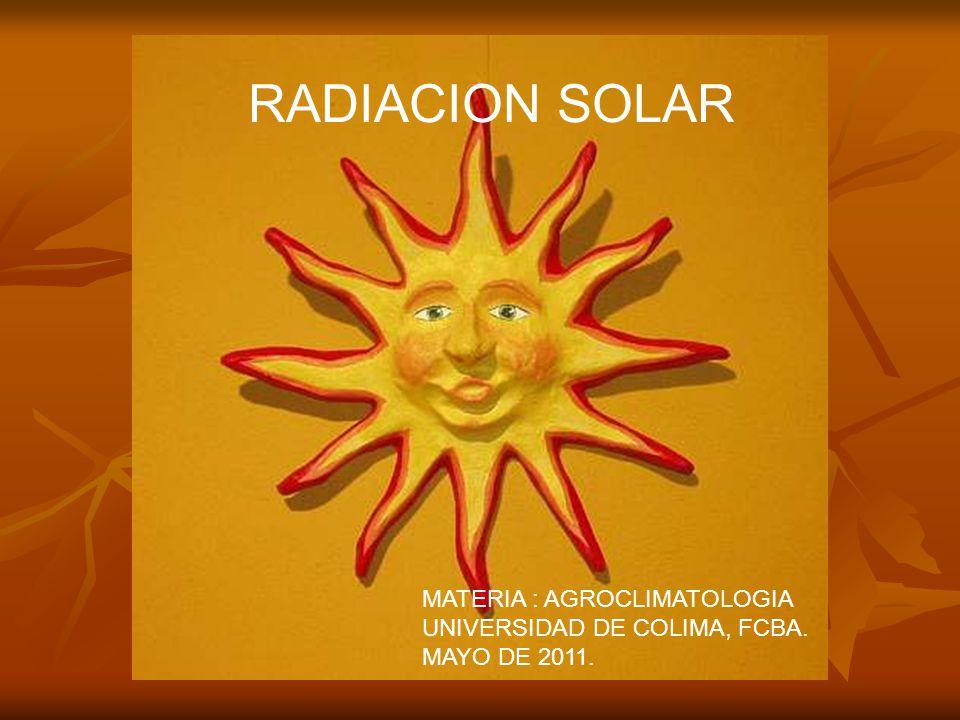 RADIACION SOLAR MATERIA : AGROCLIMATOLOGIA