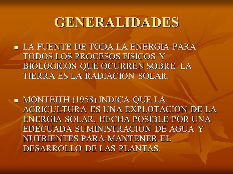 GENERALIDADES LA FUENTE DE TODA LA ENERGIA PARA TODOS LOS PROCESOS FISICOS Y BIOLOGICOS QUE OCURREN SOBRE LA TIERRA ES LA RADIACION SOLAR.