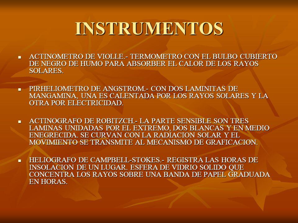 INSTRUMENTOS ACTINOMETRO DE VIOLLE.- TERMOMETRO CON EL BULBO CUBIERTO DE NEGRO DE HUMO PARA ABSORBER EL CALOR DE LOS RAYOS SOLARES.