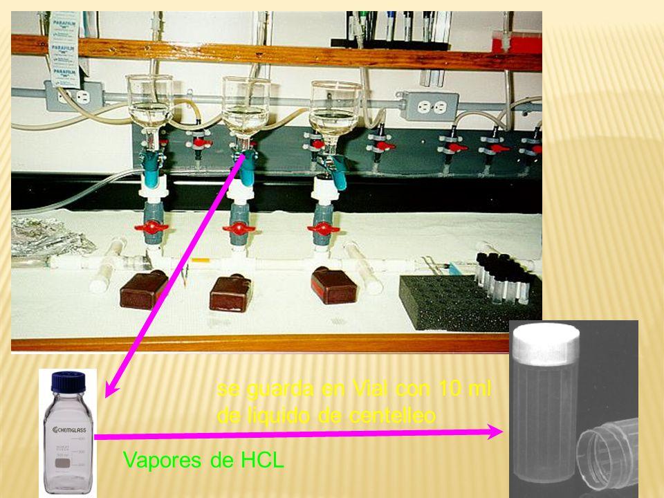 se guarda en Vial con 10 ml de liquido de centelleo Vapores de HCL