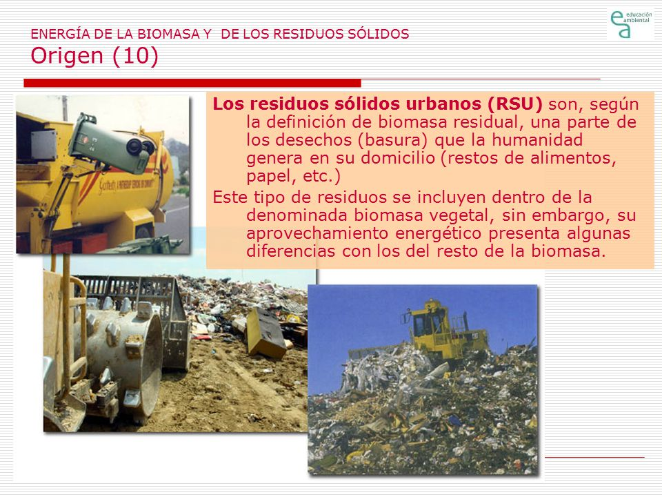 ENERGÍA DE LA BIOMASA Y DE LOS RESIDUOS SÓLIDOS Origen (10)