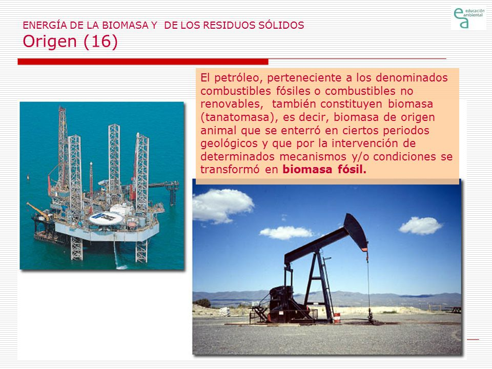 ENERGÍA DE LA BIOMASA Y DE LOS RESIDUOS SÓLIDOS Origen (16)
