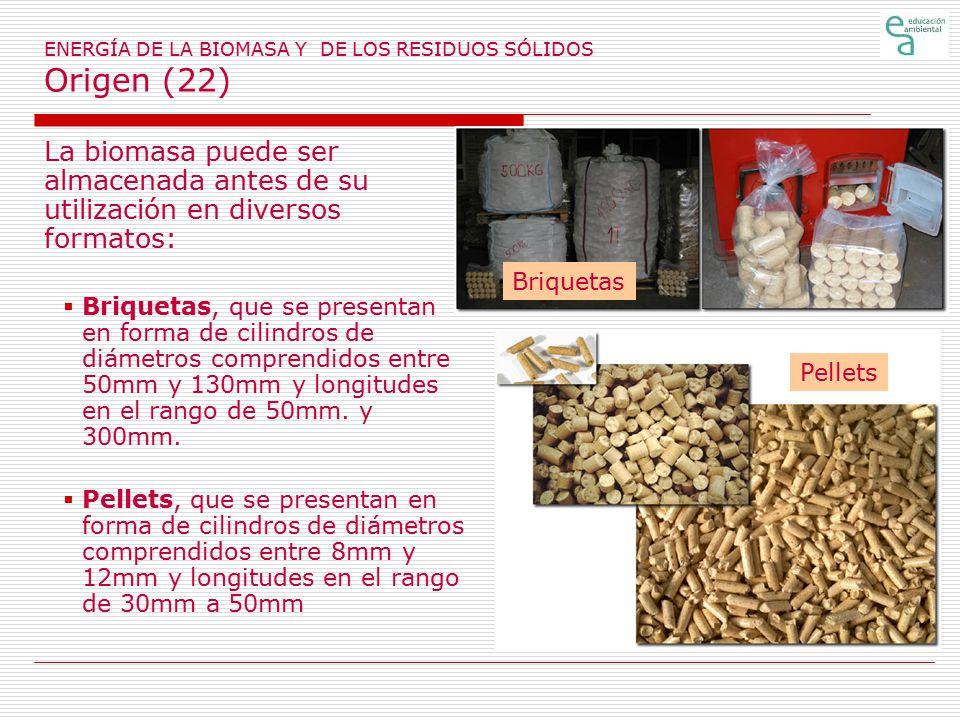 ENERGÍA DE LA BIOMASA Y DE LOS RESIDUOS SÓLIDOS Origen (22)