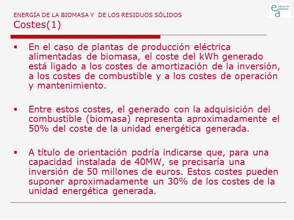 ENERGÍA DE LA BIOMASA Y DE LOS RESIDUOS SÓLIDOS Costes(1)