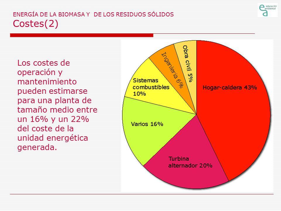 ENERGÍA DE LA BIOMASA Y DE LOS RESIDUOS SÓLIDOS Costes(2)