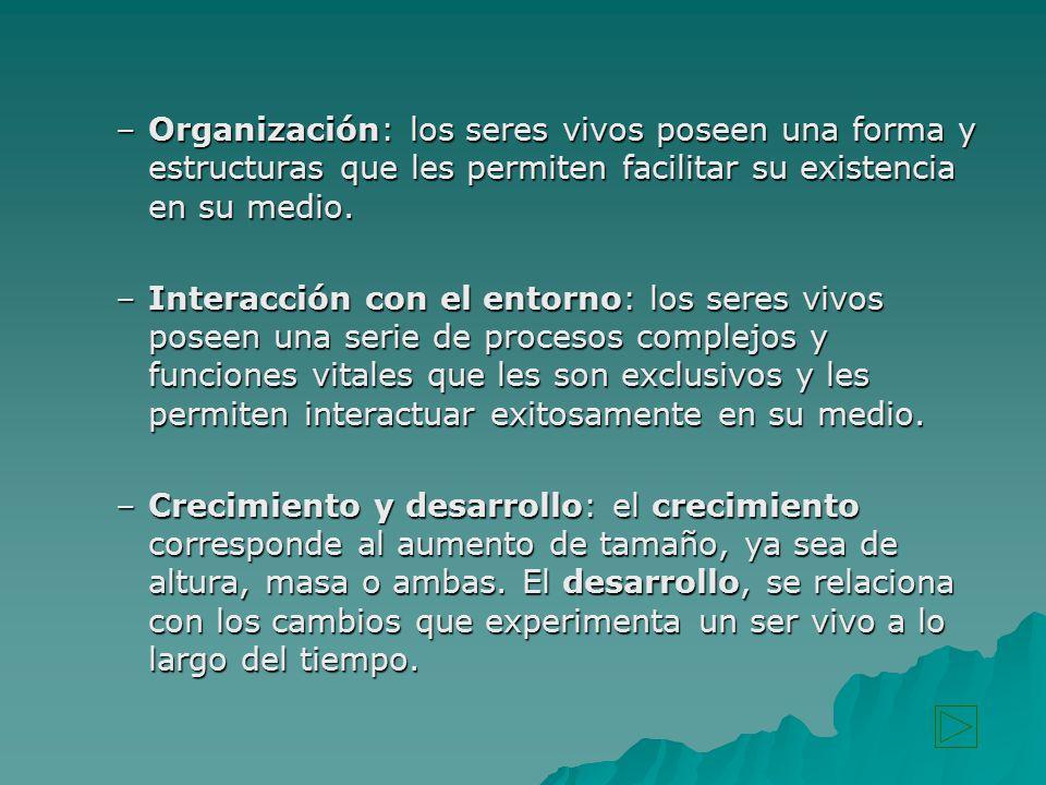 Organización: los seres vivos poseen una forma y estructuras que les permiten facilitar su existencia en su medio.