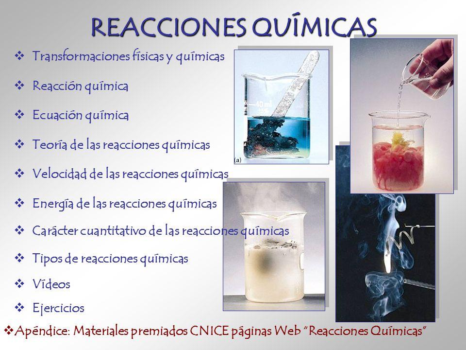 REACCIONES QUÍMICAS Transformaciones físicas y químicas