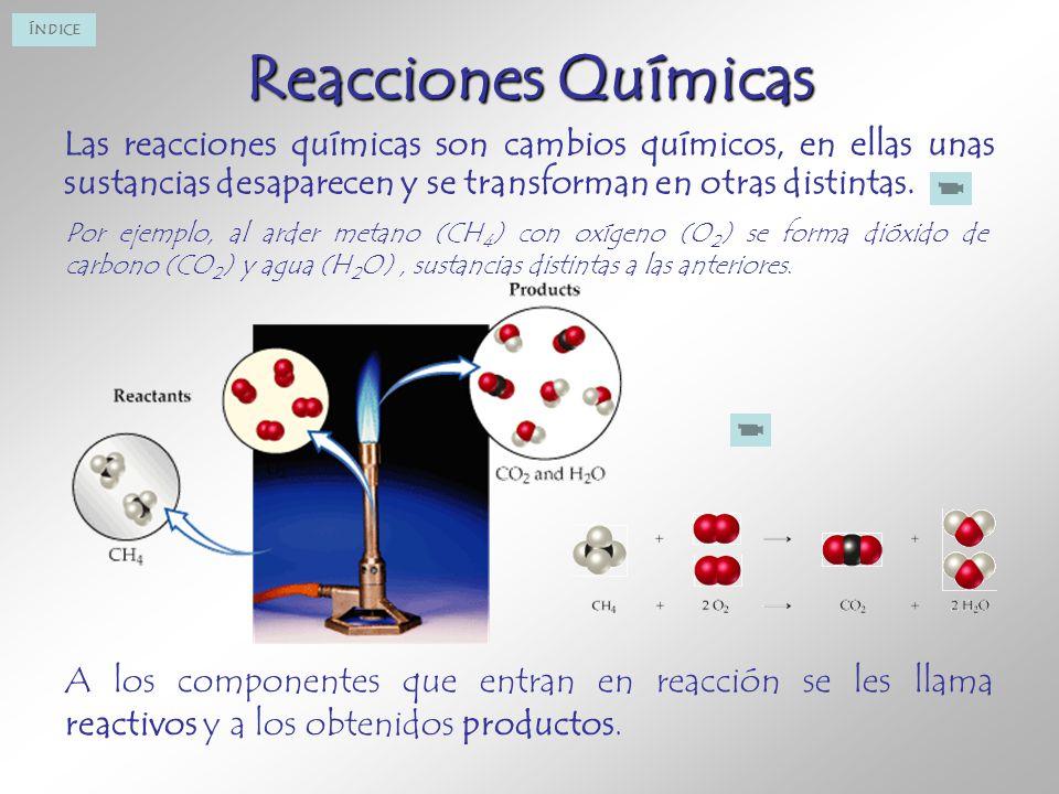 Reacciones Químicas Las reacciones químicas son cambios químicos, en ellas unas sustancias desaparecen y se transforman en otras distintas.