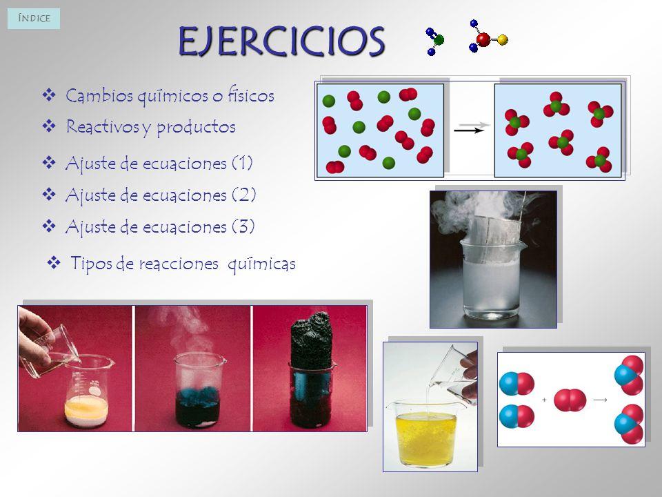EJERCICIOS Cambios químicos o físicos Reactivos y productos