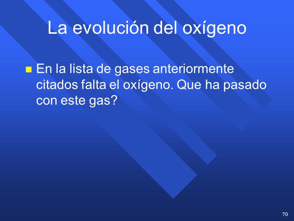 La evolución del oxígeno