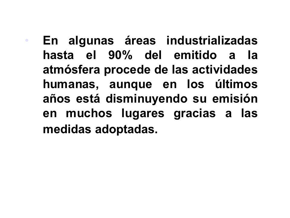En algunas áreas industrializadas hasta el 90% del emitido a la atmósfera procede de las actividades humanas, aunque en los últimos años está disminuyendo su emisión en muchos lugares gracias a las medidas adoptadas.