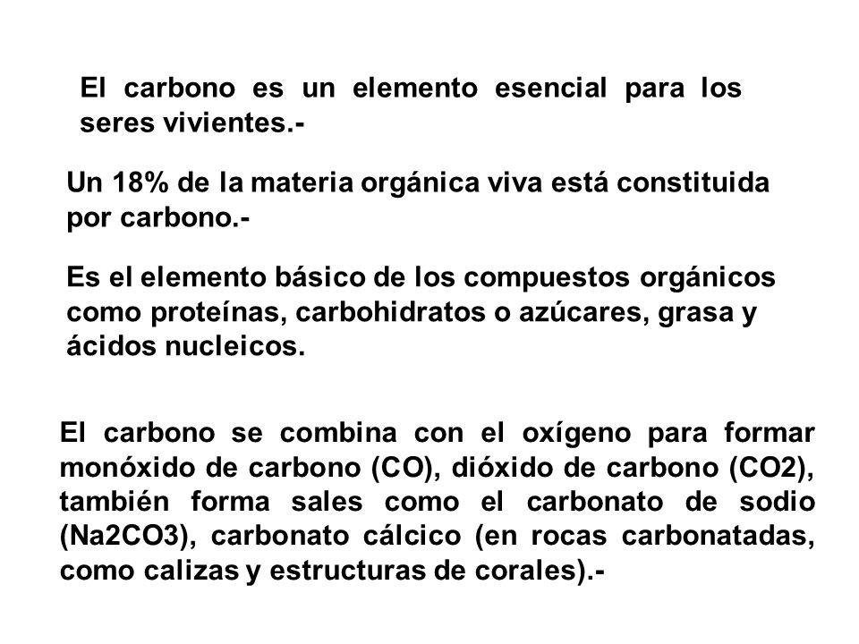 El carbono es un elemento esencial para los seres vivientes.-
