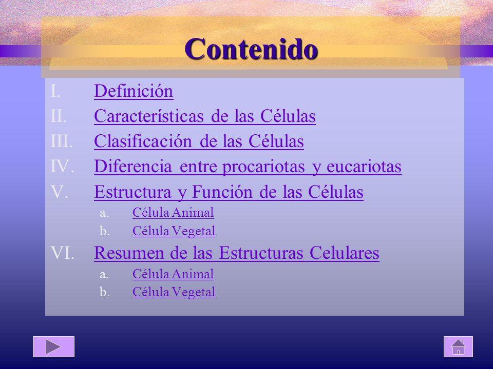 Contenido Definición Características de las Células