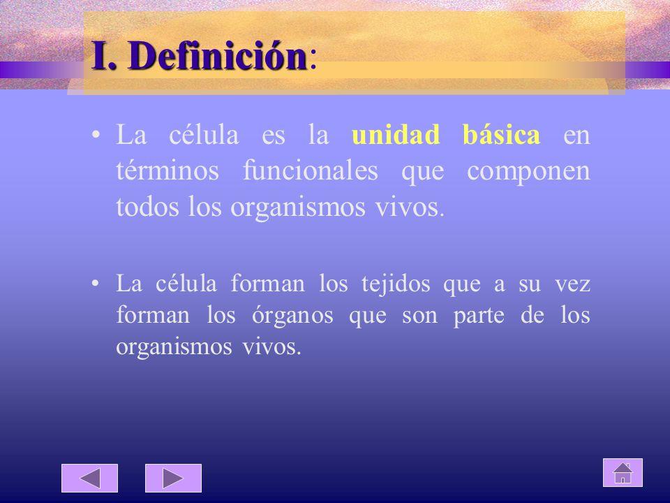 I. Definición: La célula es la unidad básica en términos funcionales que componen todos los organismos vivos.