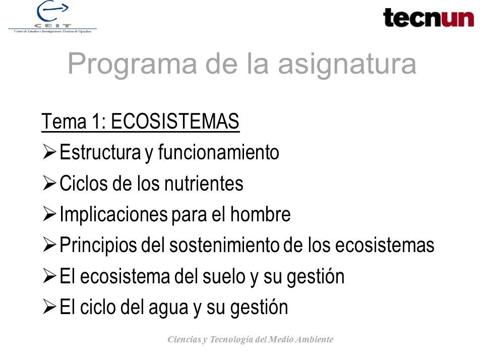 Programa de la asignatura