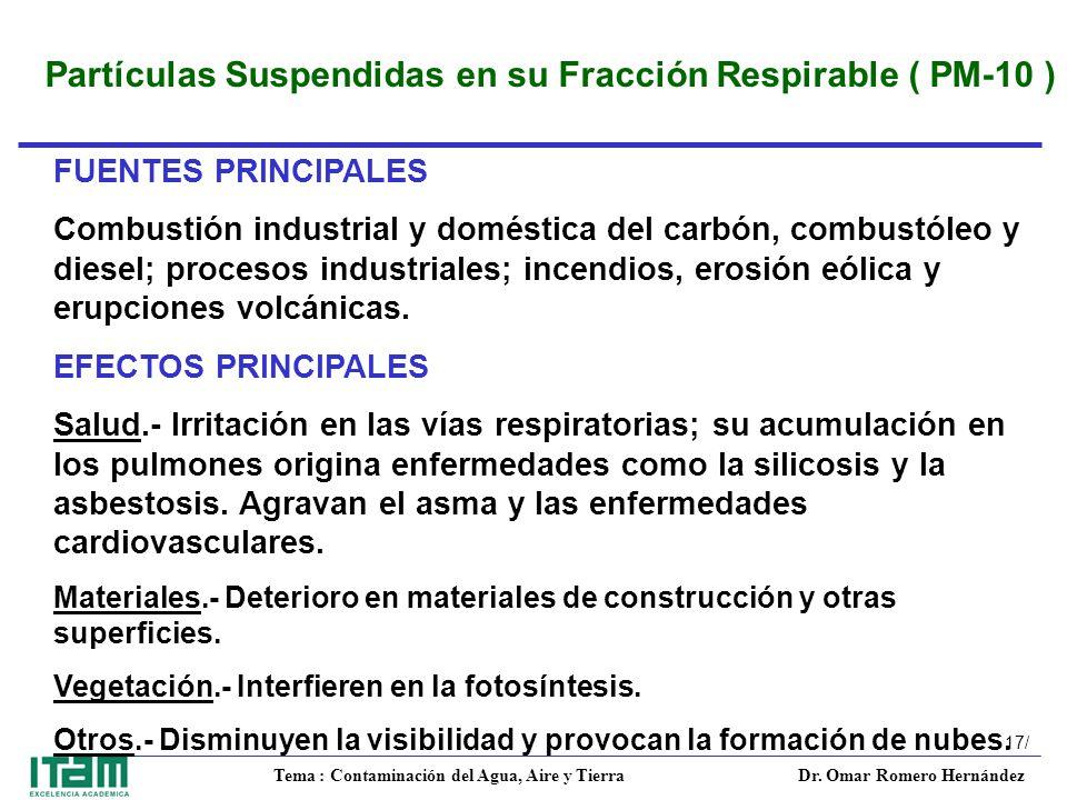 Partículas Suspendidas en su Fracción Respirable ( PM-10 )