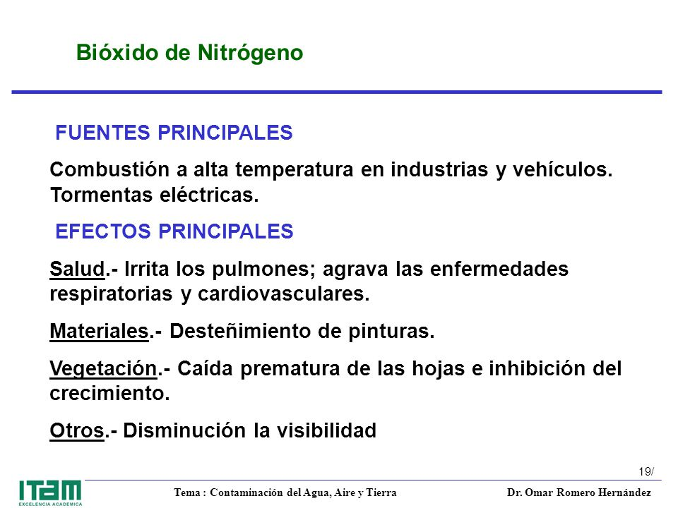 Bióxido de Nitrógeno FUENTES PRINCIPALES