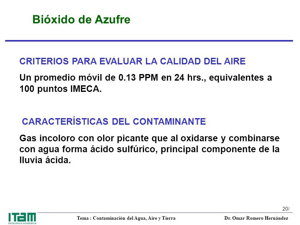 Bióxido de Azufre CRITERIOS PARA EVALUAR LA CALIDAD DEL AIRE