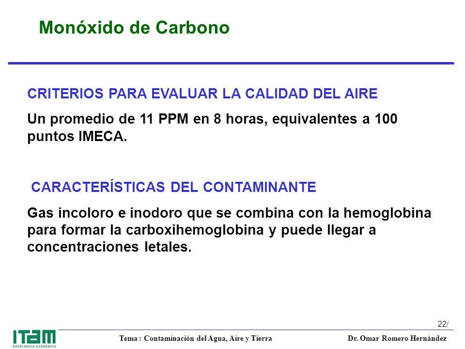 Monóxido de Carbono CRITERIOS PARA EVALUAR LA CALIDAD DEL AIRE