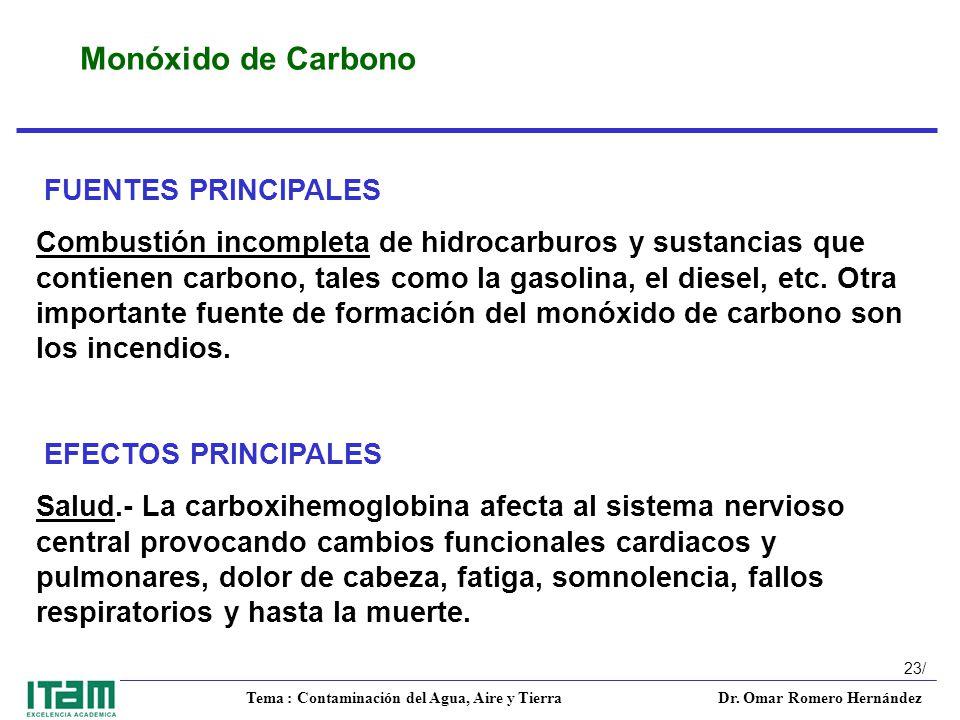 Monóxido de Carbono FUENTES PRINCIPALES