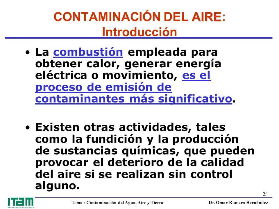 CONTAMINACIÓN DEL AIRE: Introducción