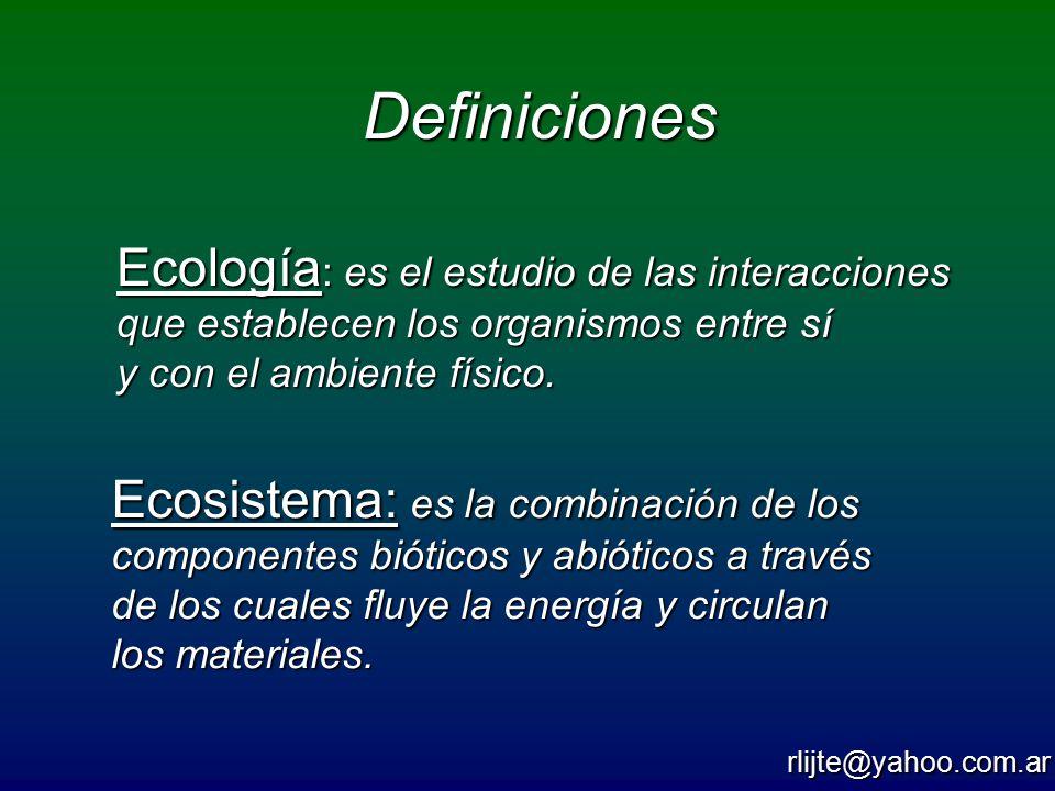 Definiciones Ecología: es el estudio de las interacciones