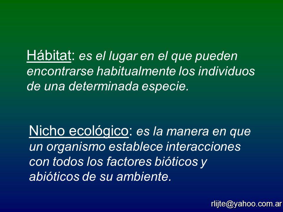 Hábitat: es el lugar en el que pueden encontrarse habitualmente los individuos de una determinada especie.