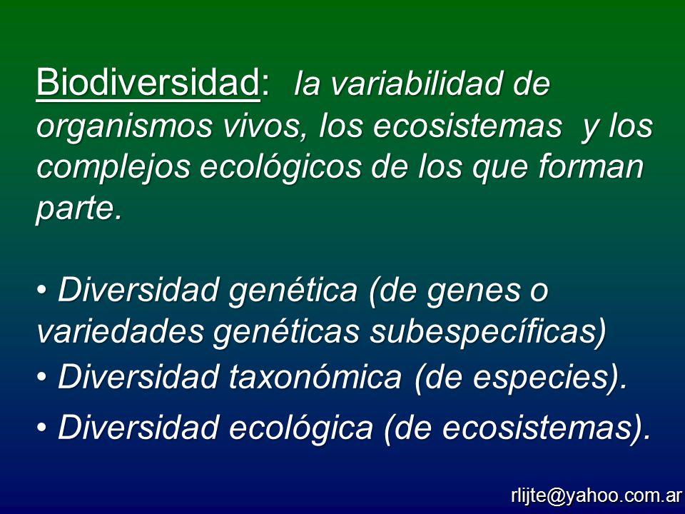 Biodiversidad: la variabilidad de organismos vivos, los ecosistemas y los complejos ecológicos de los que forman parte.
