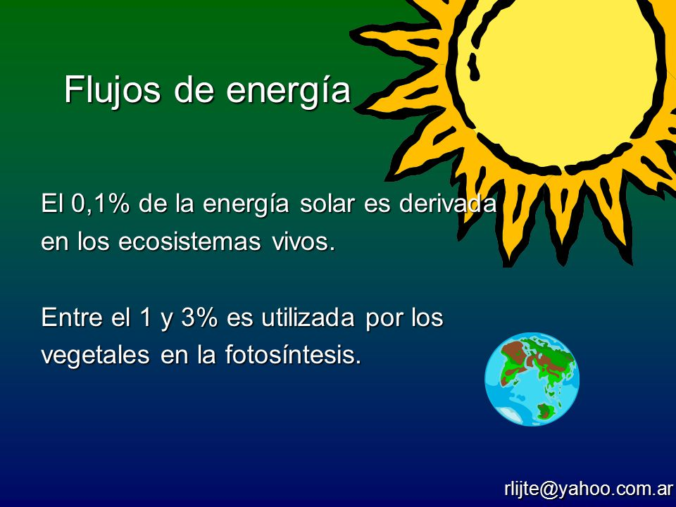 Flujos de energía El 0,1% de la energía solar es derivada