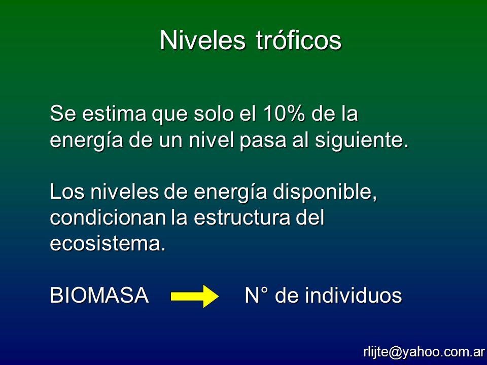 Niveles tróficos Se estima que solo el 10% de la energía de un nivel pasa al siguiente.