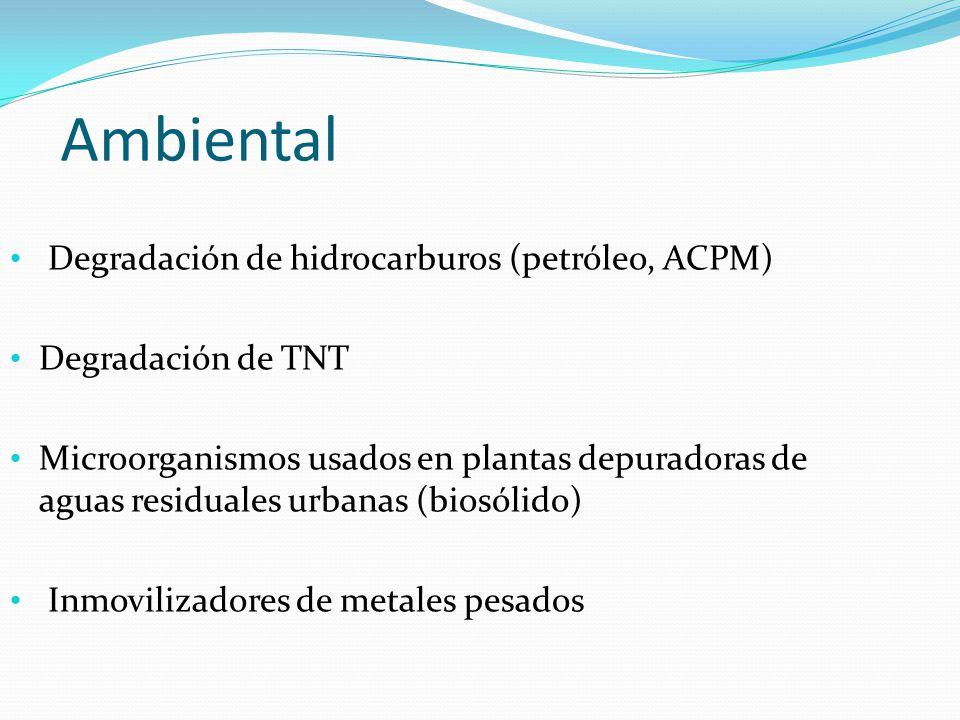 Ambiental Degradación de hidrocarburos (petróleo, ACPM)