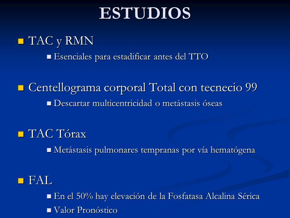 ESTUDIOS TAC y RMN Centellograma corporal Total con tecnecio 99