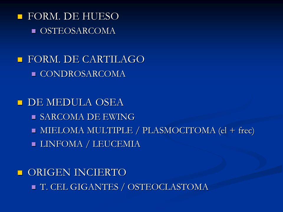 FORM. DE HUESO FORM. DE CARTILAGO DE MEDULA OSEA ORIGEN INCIERTO