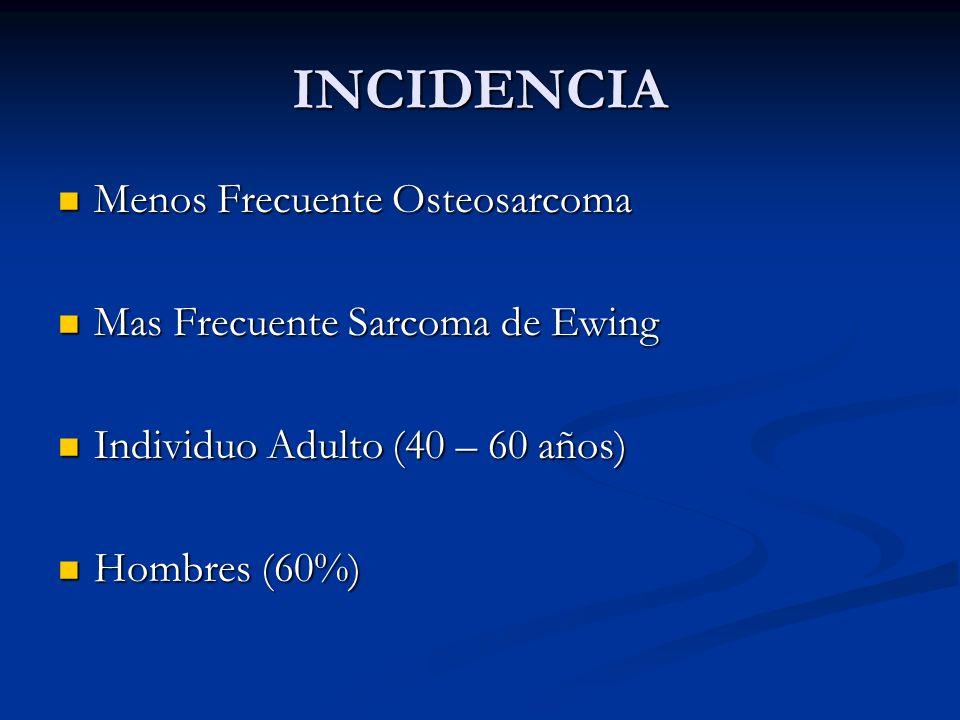 INCIDENCIA Menos Frecuente Osteosarcoma Mas Frecuente Sarcoma de Ewing