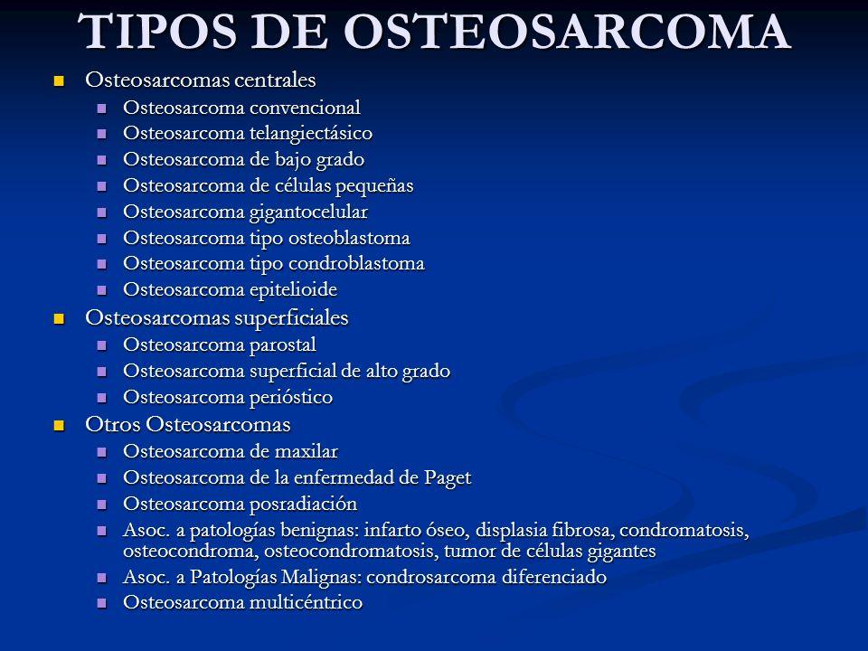 TIPOS DE OSTEOSARCOMA Osteosarcomas centrales
